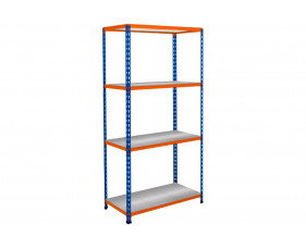 Rapid 2 Shelving With 4 Galvanized Shelves 915wx1600h (Blue/Orange)