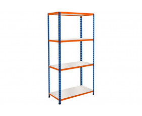 Rapid 2 Shelving With 4 Melamine Shelves 915wx1600h (Blue/Orange)