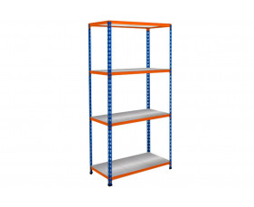 Rapid 2 Shelving With 4 Galvanized Shelves 1220wx1600h (Blue/Orange)