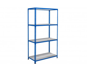 Rapid 2 Shelving With 4 Galvanized Shelves 1525wx1600h (Blue)