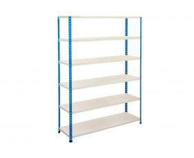 Rapid 2 Shelving With 4 Melamine Shelves 1525wx1600h (Blue/Grey)