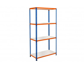 Rapid 2 Shelving With 4 Melamine Shelves 1525wx1600h (Blue/Orange)