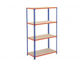 Rapid 2 Shelving With 4 Chipboard Shelves 915wx1980h (Blue/Orange)
