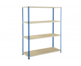 Rapid 2 Shelving With 4 Chipboard Shelves 1220wx1980h (Blue/Grey)