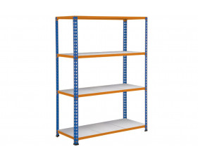 Rapid 2 Shelving With 4 Galvanized Shelves 1220wx1980h (Blue/Orange)