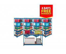 Budget Shelving Bundle Deal With 4 Shelving Bays And 1 Workbench