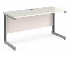 All White Deluxe Narrow Rectangular Desk