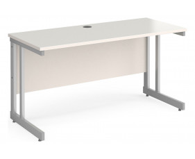 All White Double C-Leg Narrow Rectangular Desk