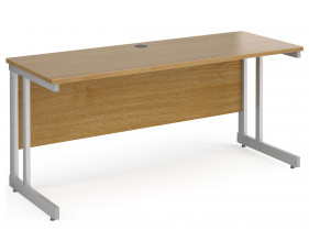All Oak Double C-Leg Narrow Rectangular Desk