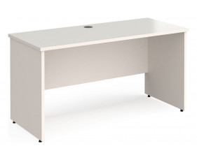All White Panel End Narrow Rectangular Desk