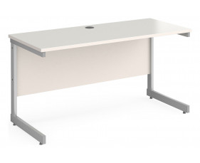 All White C-Leg Narrow Rectangular Desk