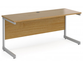 All Oak C-Leg Narrow Rectangular Desk
