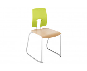 Hille SE Ergonomic Skid Base Classroom Chair With Wooden Seat