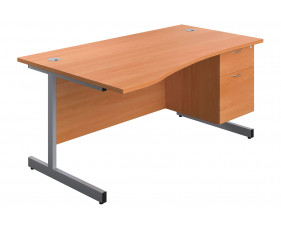 Proteus I Wave Desk With 2 Drawers