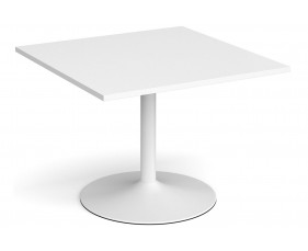 All White Premium Trumpet Base Square Extension Table