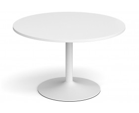 All White Premium Trumpet Base Round Boardroom Table