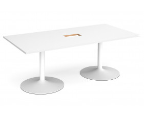 All White Premium Trumpet Base Power Ready Rectangular Boardroom Table