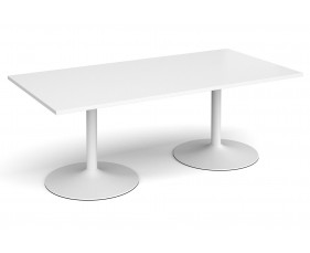 All White Premium Trumpet Base Rectangular Boardroom Table