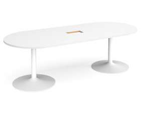 All White Premium Trumpet Base Power Ready Radial End Boardroom Table