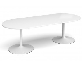 All White Premium Trumpet Base Radial Boardroom Table
