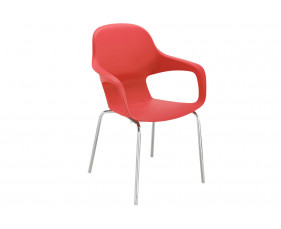 Booth Chrome Leg Bistro Chair (Red)