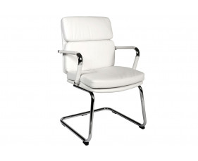 Crowne Leather Faced Visitor Chair (White)