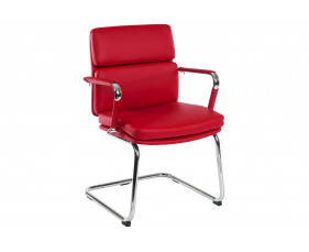 Crowne Leather Faced Visitor Chair (Red)