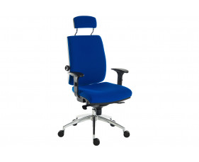 Baron deluxe 24hr ergonomic armchair with headrest (fabric)