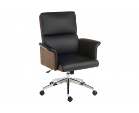 Panache Medium Back Executive Leather Look Chair Black