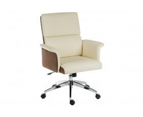Panache Medium Back Executive Leather Look Chair Cream