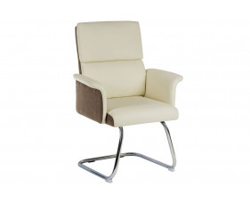 Panache Leather Look Visitor Chair (Cream)