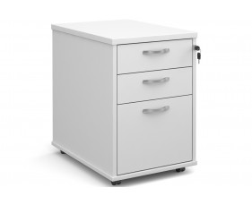 All White Tall Mobile 3 Drawer Pedestal