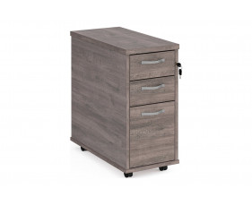 All Grey Oak Tall Slimline Mobile 3 Drawer Pedestal