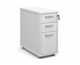 All White Tall Slimline Mobile 3 Drawer Pedestal