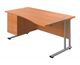 Proteus II Right Hand Wave Desk With 3 Drawers