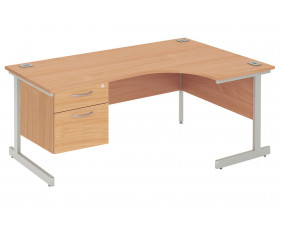 Proteus I Right Hand Ergonomic Desk With 2 Drawers