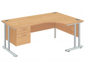 Proteus II Right Hand Ergonomic Desk With 2 Drawers