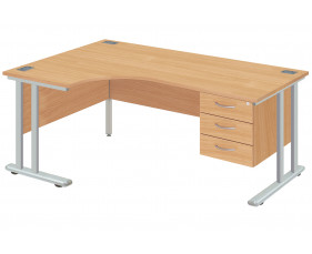 Proteus II Left Hand Ergonomic Desk With 3 Drawers