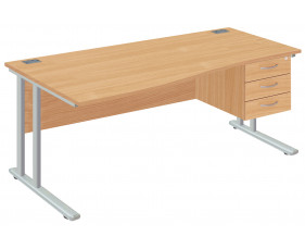 Proteus II Left Hand Wave Desk With 3 Drawers