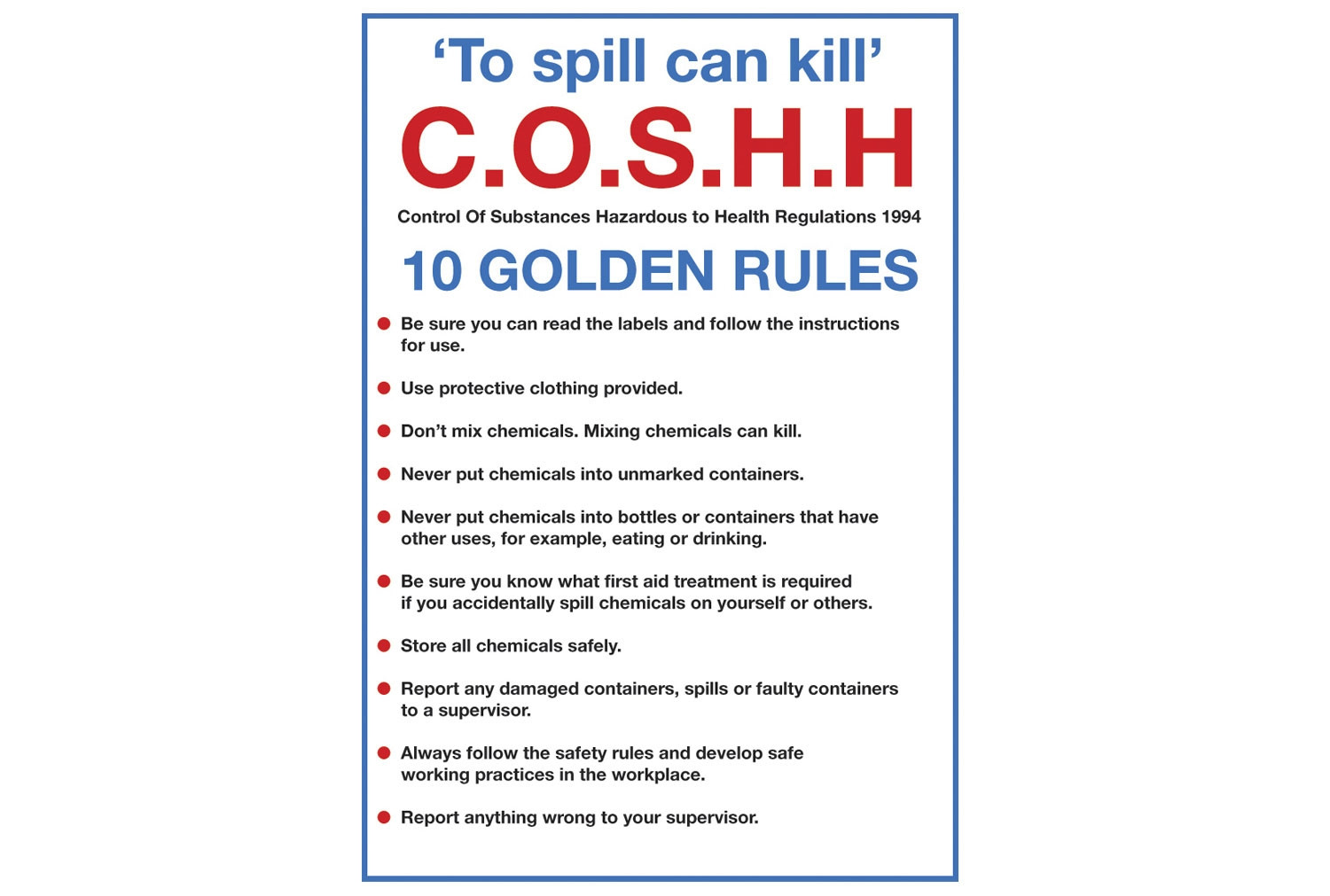Coshh 10 Golden Rules Sign
