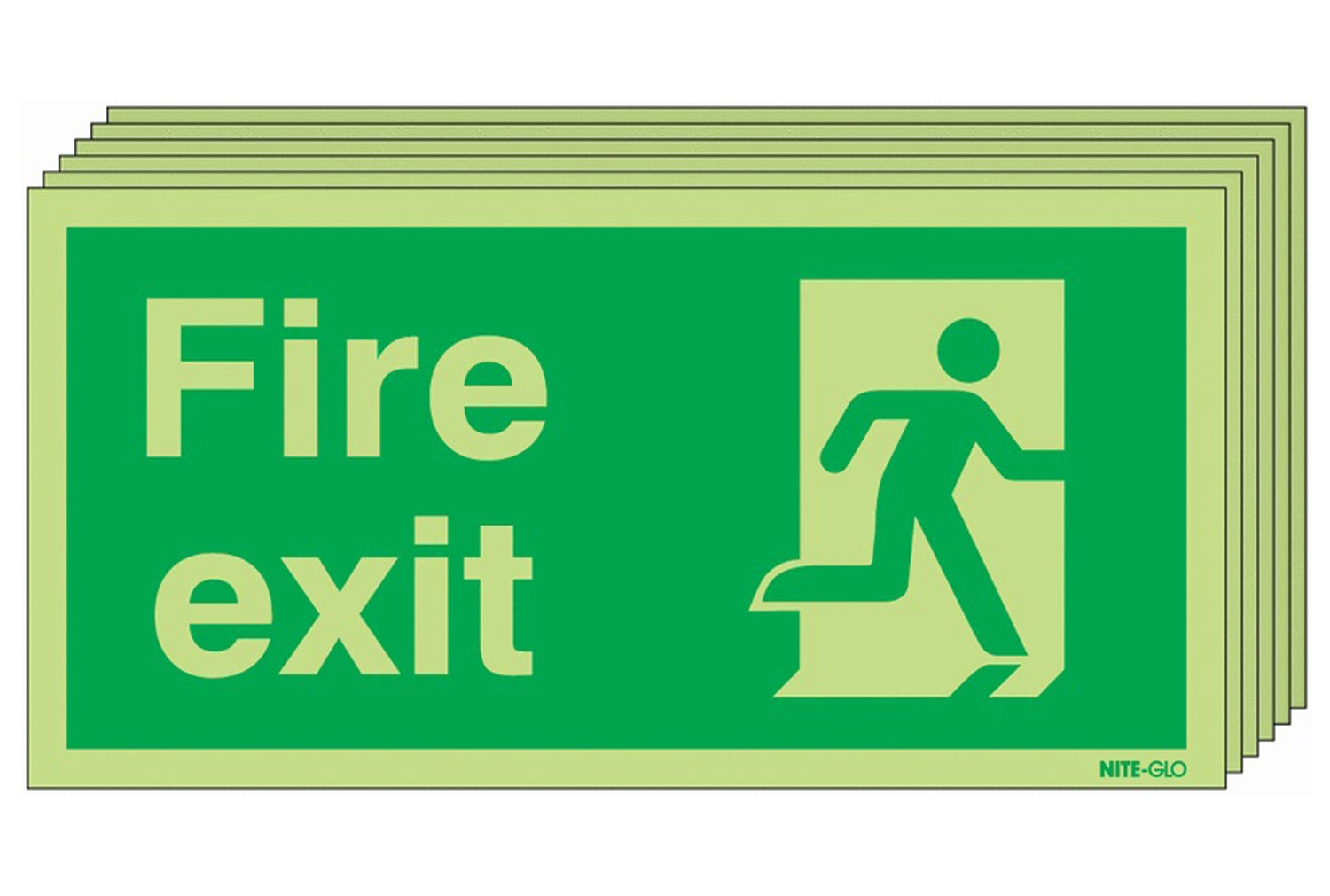 Nite-Glo Fire Exit Sign With Man Running Right (Multipack)