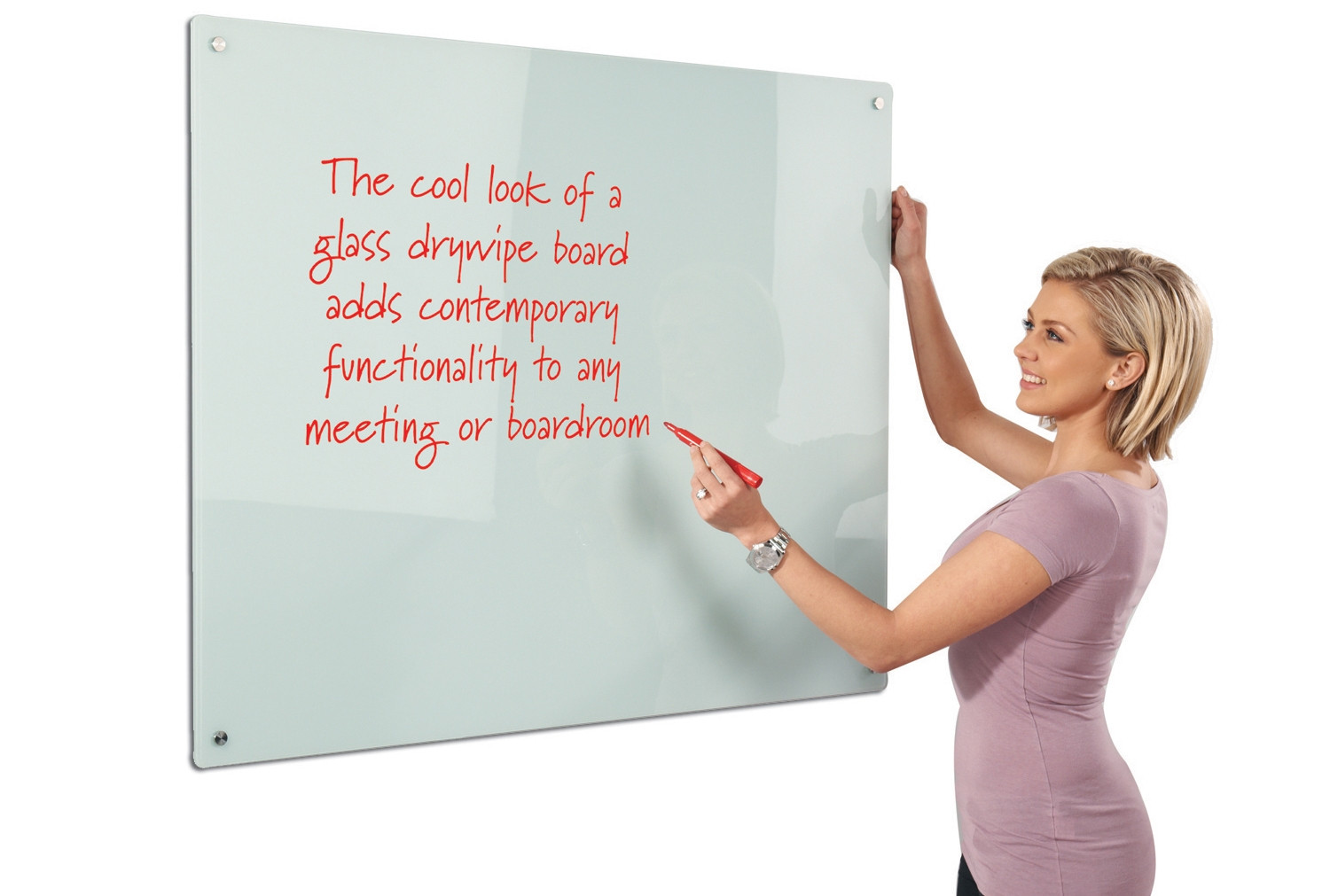 Next-Day Write-On Magnetic Glass Whiteboard