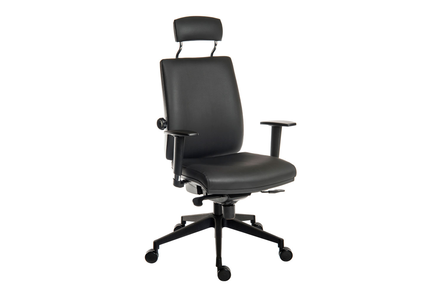 Baron Deluxe 24HR PU Ergonomic Armchair With Headrest (Black Frame)