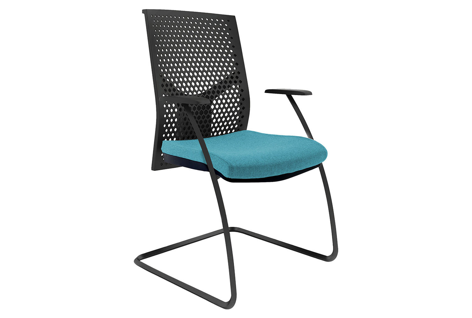 Ezra Visitor Chair With Black Poly Backrest (Black Frame)