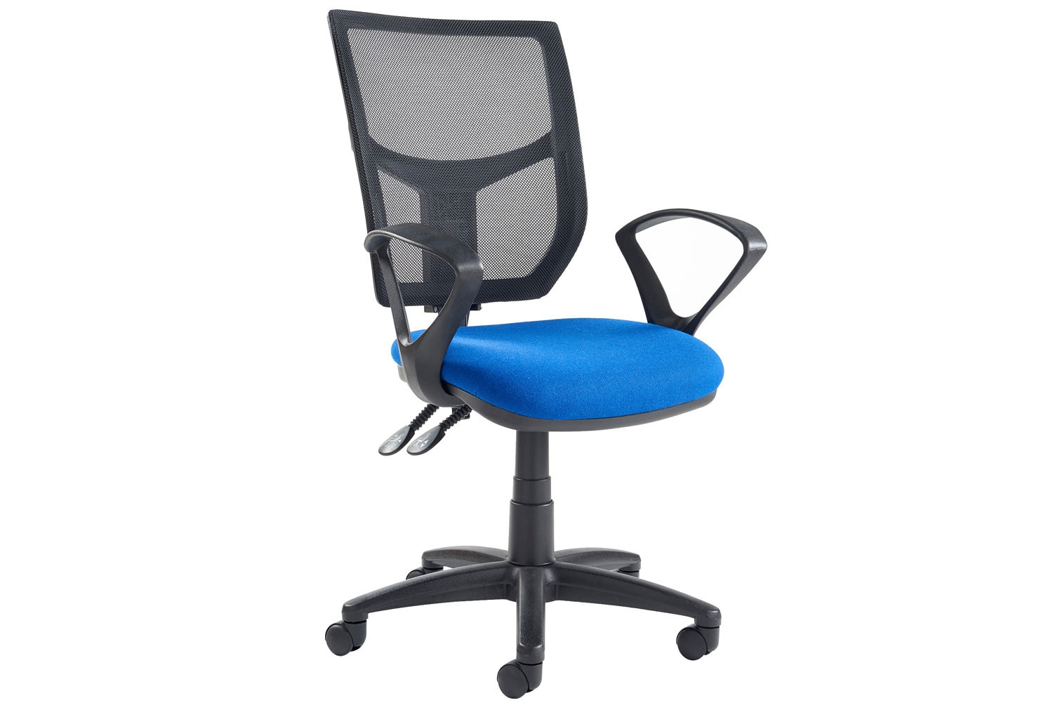 Gordy 2 Lever Mesh Back Operator Chair Fixed Arms (Blue)