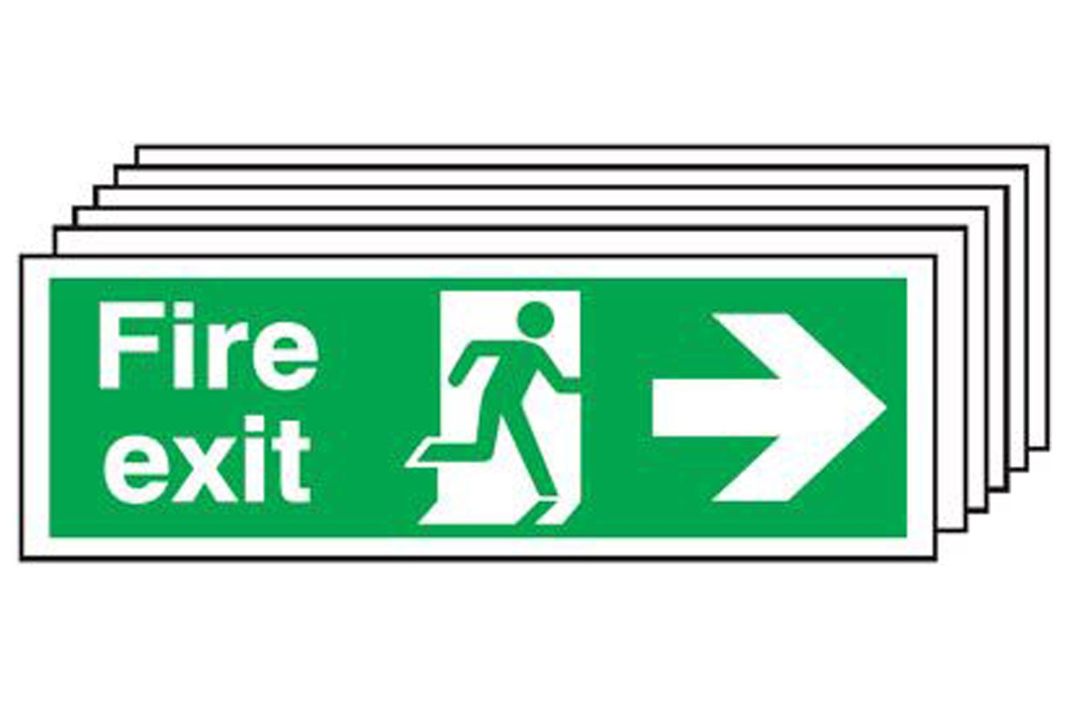 Fire Exit Sign With Running Man And Arrow Pointing Right (Multipack)