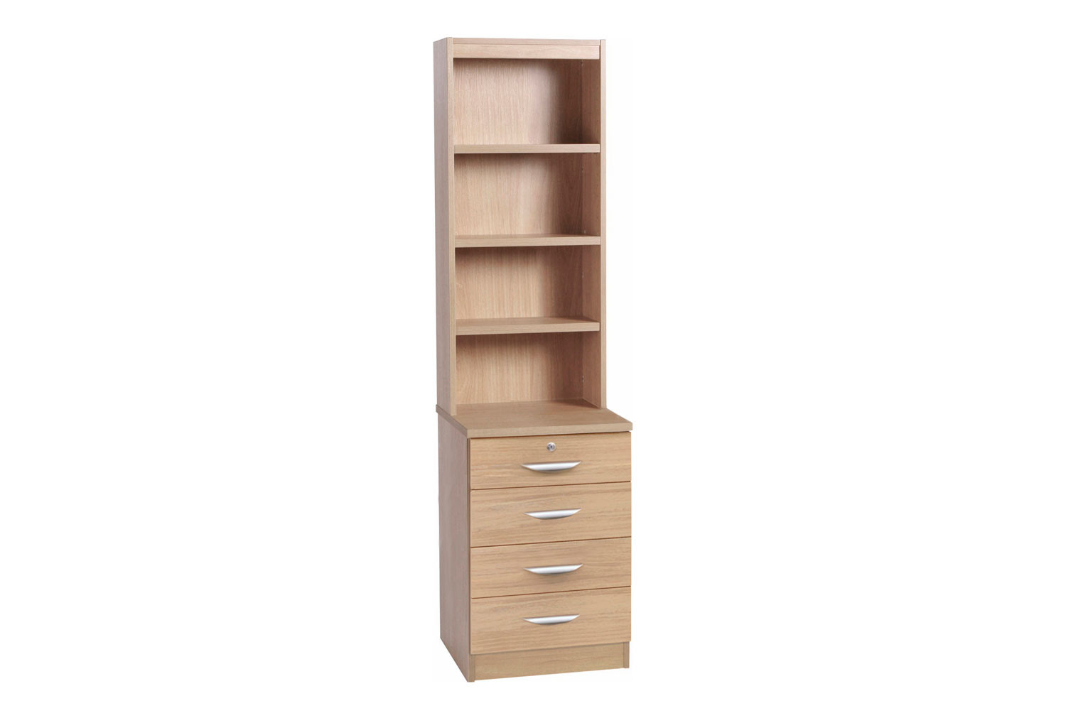 Small Office 4 Drawer Unit With Hutch Bookcase