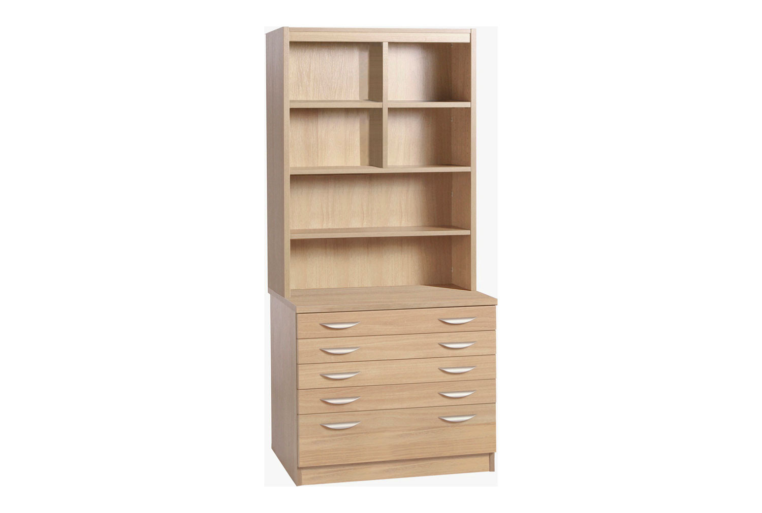 Small Office 5 Drawer Chest With Hutch Bookcase