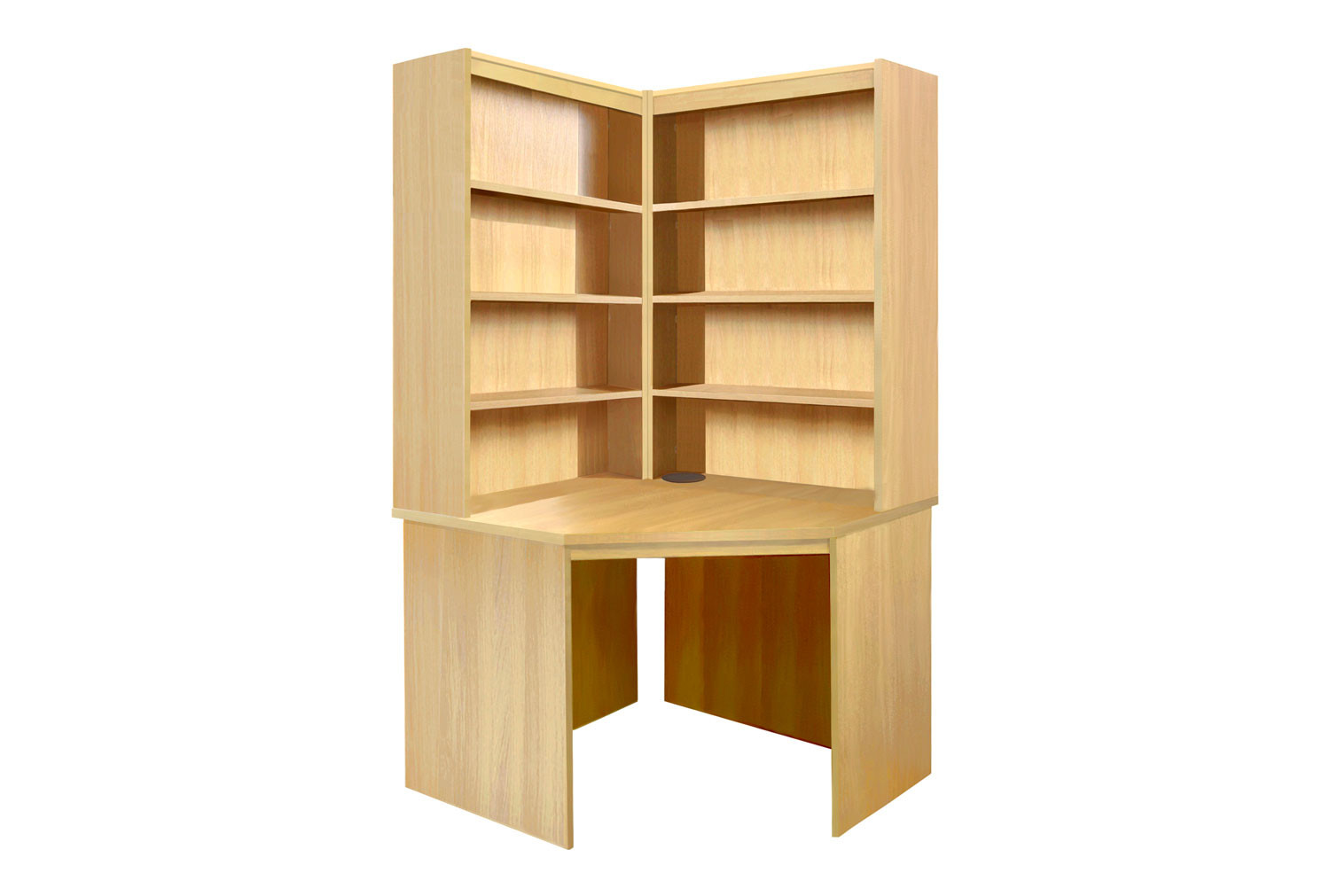 Small Office Corner Desk With Hutch Bookcase Set (Classic Oak)