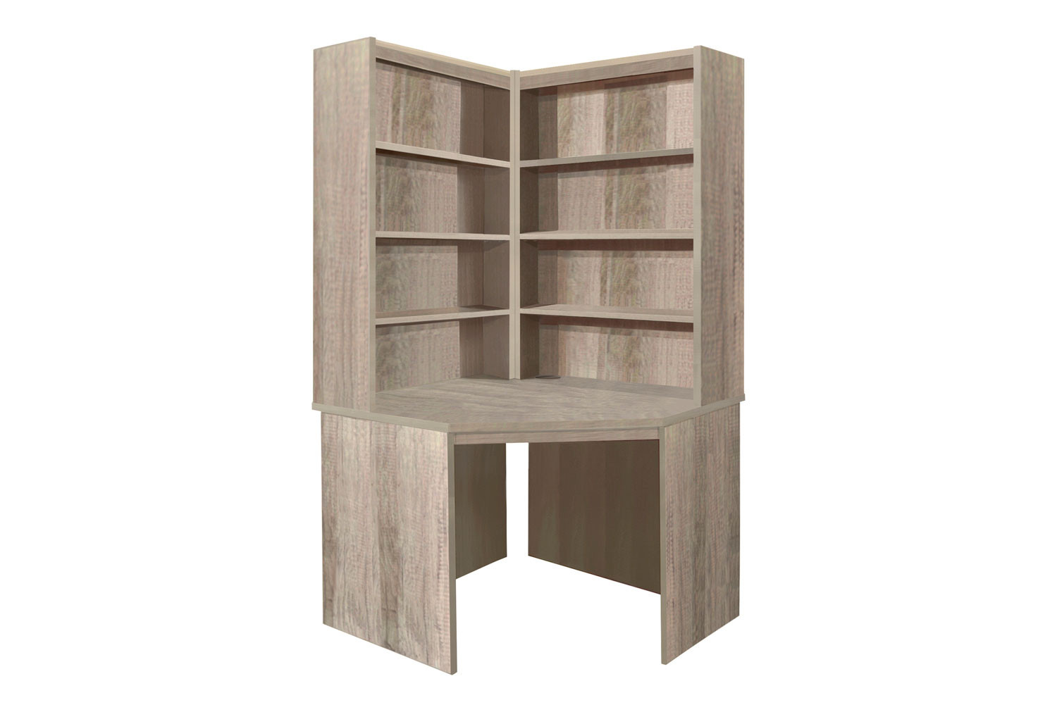 Small Office Corner Desk With Hutch Bookcase Set (Grey Nebraska)